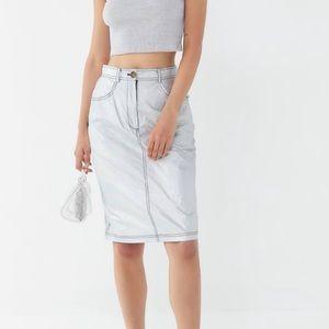 High waisted metallic nylon grey skirt